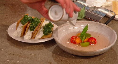 Marianne Lumb's tomato consommé with burrata mille feuille  on Saturday Kitchen