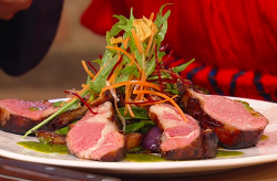Wolfgang Puck's lamb chops with stir fried eggplants (aubergines) on Saturday kitchen