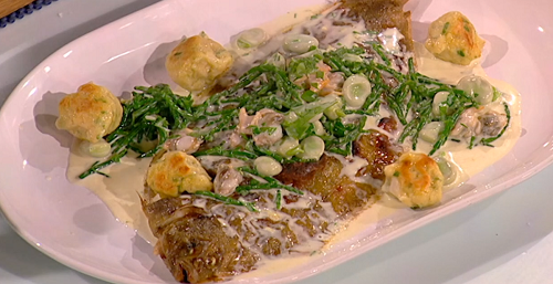 Nathan Outlaw's grilled lemon sole with potato dumplings, cockles, samphire and and lemon  ...