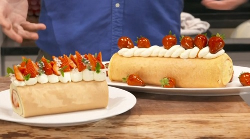 James Martin's classic Swiss roll with strawberries and whipped cream on This Morning