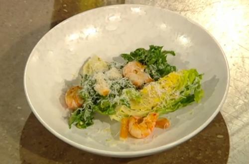 Anna Haugh's Caesar salad with roasted langoustines on Saturday kitchen