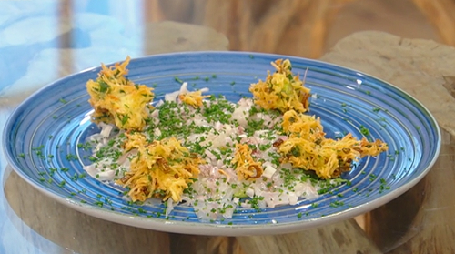 Matt's marinated Sea bass with avocado puree and spring onion fritters on Saturday Kitchen