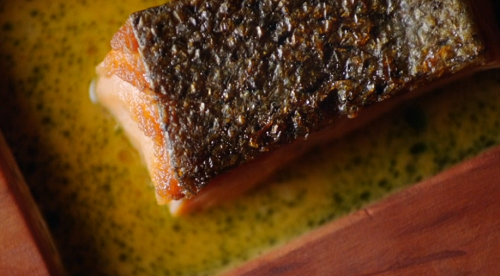 Salmon trout with a saffron and shiso infused sauce on Remarkable Places to Eat with Fred and Ra ...