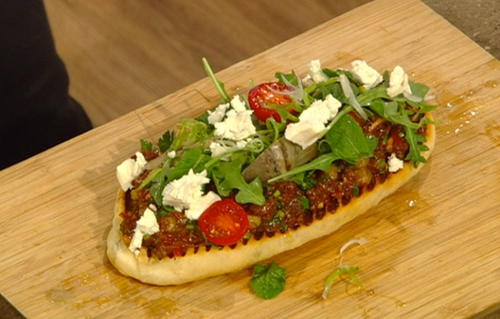 Ollie Dabbous smoky flatbreads with spiced lamb, feta and pine nuts on Saturday Kitchen