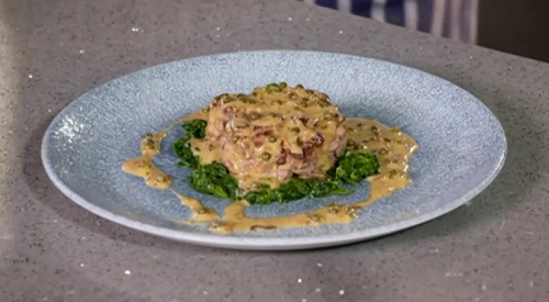 Nick Nairn and Dougie Vipond's steak cache with a green peppercorn sauce on The Great Food ...