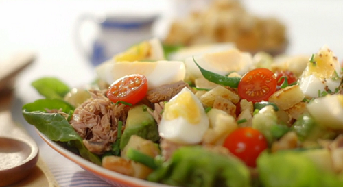 Mary Berry's tuna salad with croutons, new potatoes and a mustard salad dressing on Saturd ...