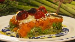 Charleen's Italian vegan pie ( timballo) with asparagus, peas, parsley, butternut squash a ...