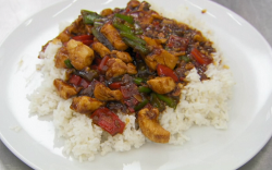 John Barnes Asian chicken with stir fried vegetables and rice on MasterChef 2020