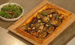Nadiya Hussain's puff pastry tart with aubergine, feta cheese and salad on Saturday Kitchen