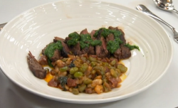 Phil's chimichurri skirt steak with a bean fricassee on Celebrity Masterchef 2020
