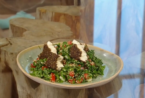 Matt Tebbutt's black pepper and ginger baked feta with kale and spinach salad on Saturday  ...