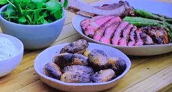 Tom Kerridge's ultimate BBQ rib-eye steak with coal cooked potatoes, asparagus and blue ch ...