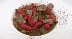 Amar Latif's beetroot gnocchi with a wild mushroom sauce and shuffle saving made using a r ...
