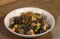 Jane Baxter's black cavatelli with clams, prawns and courgettes on Saturday kitchen