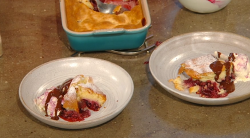 Jane Baxter Cherry clafoutis with cherry ice cream and boozy chocolate sauce on Saturday Kitchen