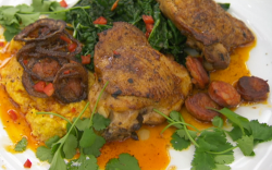 Felicity Montagu's spiced chicken thighs with chorizo, corn and cabbage on Celebrity Maste ...