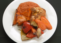 Phil Daniels and Dominic Littlewood's spicy chicken breast with roasted vegetables and tom ...