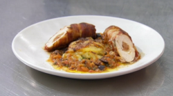 Phil Daniels chicken ballotine with potato gratin and pizzaiola sauce made using a recipe by Ald ...