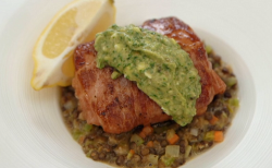 john Torode's cod wrapped in parma ham with lentils and salsa Verde on Celebrity Masterche ...