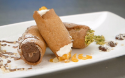 Judi's cannoli with three fillings (ricotta and candid peal, chocolate and hazelnuts and p ...