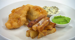 Thomas Skinner's fish and chips with tartar sauce and pea puree on Celebrity Masterchef 2020
