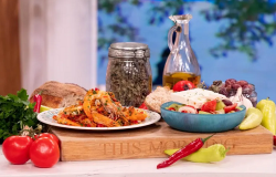 John Torode's Greek Summer Salad with feta cheese and prawns on This Morning