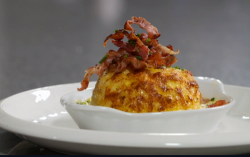 Nick Nairn and Dougie Vipond's Isle of  Mull cheddar cheese souffle with Ayrshire bacon and kale ...
