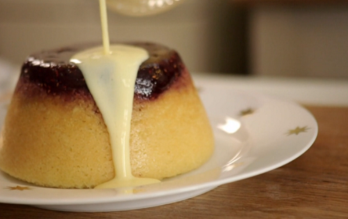 Phil Vickery mum's steamed jam sponge pudding with raspberry jam and custard on John and L ...