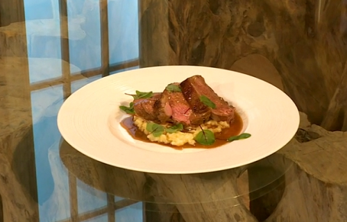 Andi Oliver roast lamb rump with sorrel sauce and risotto on Saturday Kitchen