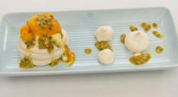 Sam Quek's mango and passionfruit pavlova filled with a vanilla cream dessert on Celebrity Maste ...