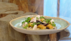 Matt Tebbutt Gnocchi with onion purée, pickled turnips and mushrooms on Saturday Kitchen