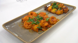 Dom's prawn curry with Bombay potatoes on Celebrity Masterchef 2020