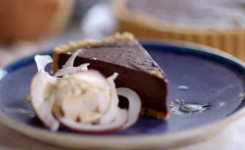 John Torode's chocolate and coconut pie with Chantilly cream  on John and Lisa's Weekend K ...