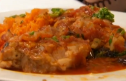 Phil's pork fillets with Mediterranean sauce, sweet potato mash and a lime and herb sauce  ...