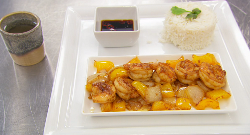 Sam Quek's prawn, yellow pepper and onion stir-fry with chilli dipping sauce and jasmine t ...