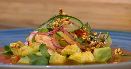 Marcus Samuelsson prawn aguachile on Saturday Kitchen