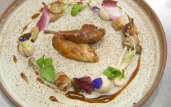 Gethin Jones quail with Madeira sauce using a recipe by Ruth Hansom on Celebrity Masterchef 2020