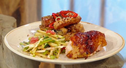 Matt Tebbutt's roast ginger chicken with garlic, apple slaw and spiced aubergine on Saturd ...