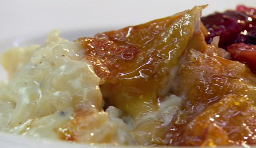 Raymond Blanc rice pudding with a caramel crust and berry compote  on Saturday Kitchen