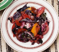 Olia Hercules  Ukrainian tomato, blackberry, onion and basil salad  on Sunday Brunch