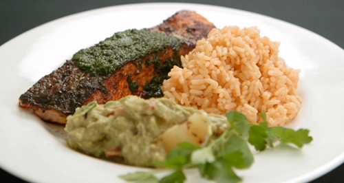 Sam Quek and Karen Gibson's blackened spicy salmon with Cajun rice, salsa Verde on Celebri ...