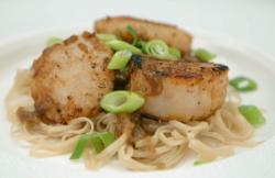 Sam's miso coated scallops with noodles starter on Celebrity Masterchef 2020 final