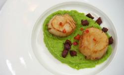 John Barnes scallops with chorizo, chilli  and pea puree on Celebrity Masterchef 2020