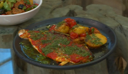 Donal Skehan harissa baked sea bass with roast potatoes and tomatoes for Greg James on Saturday  ...