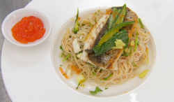 Amar Latif sea bass with noodles teriyaki sauce and sweet chili sauce on Celebrity Masterchef 2020