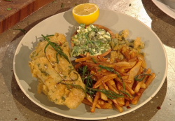 Galton Blackiston's chilli coriander sea bass with fine chips and sauce gribiche on Saturd ...