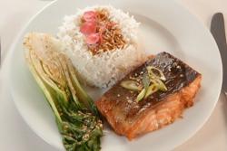Riyadh Khalaf's sea trout with Asian glaze, bok choy and rice on Celebrity Masterchef 2020