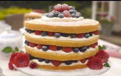 Mary Berry's summer garden gateau with Genoise sponge, cream and berries on Saturday Kitchen