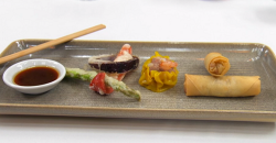 Sam Quek's trio of oriental starters with sui mai, chicken spring rolls and vegetables on Celebr ...