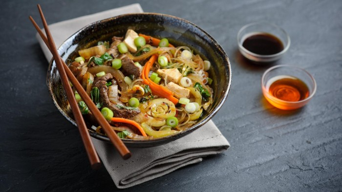 Ken Hom's stir-fry beef with onions, mint and spicy noodles on Saturday Kitchen